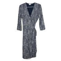 Calvin Klein Women's Crosshatch Print 3/4 Sleeve Wrap Dress Navy Beige Sz Medium