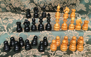 """vintage wooden chess set in storage board (Petite brand)  King=3"""" tall"""