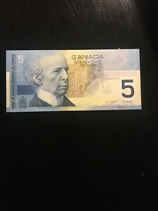 2001 CANADA $5 PAPER MONEY/ BANK NOTE UNCIRCULATED