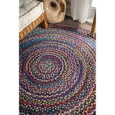 Handmade Decorative Indian 3x3 Ft Cotton Braided Floor Reversible Round Rag Rug