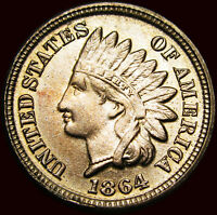 1864 Copper Nickel Indian Cent Penny  ---- Gem BU+ Condition ----  #Q063