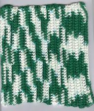 Green & White crocheted dishcloth. Made in Montana!
