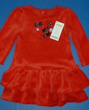 Gymboree Winter Penguin Long Sleeve Red Velour Dress Bows Buttons Accents 12-18M