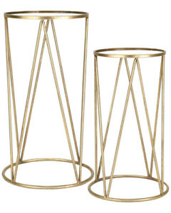 Sagebrook Home Iron Metal Mirror Accent Tables Set of 2 Modern Contemporary Good