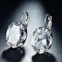 Huge Shiny Oval Cut White Fire Topaz Gemstone Silver Woman Dangle Hook Earrings