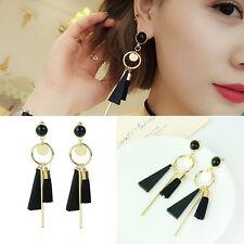 Korea Women Black Tassel  Geometric Wooden Dangle Drop Earrings Stud Earring #FA