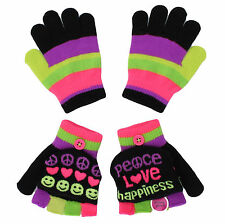 Jumping Beans Girls Size Small Peace Print Stripe 2 Pack Touchscreen Gloves