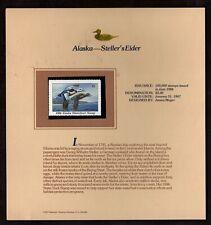 ALASKA: STELLER'S EIDER STATE DUCK STAMP 1986 ON  FLEETWOOD DISPLAY PAGE,MINT NH