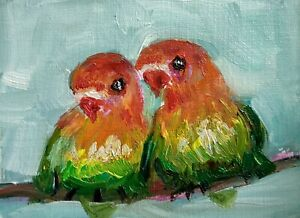 original oil painting ACEO on paper lovebirds nature urban bird home pet   #SIBY