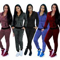 Women 2PCS Tracksuit V-Neck Zip Sweatshirt Jogging Pants Lounge Yoga Sports Suit