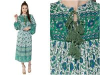 rayon green floral maxi dress women's collar neck long sleeve vintage bohemian