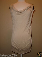 BEBE WOMANS TAN  ZIPPER SLEEVE TOP SIZE LARGE