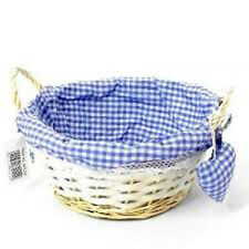 23cm Round Gingham Cloth Lined Eared Wicker Basket With Heart-blue Boy Gift