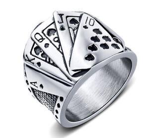 Men's Stainless Steel Texas Hold'em Poker Cocktail Style Ring M159