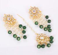 Indian Bollywood Kundan Forehead Green Maang Tikka, Kaan Chain Earring Jewelry