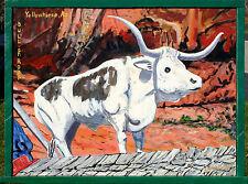 BIG LONGHORN ARIZONA SOUTHWEST FUNNY LANDSCAPE ANIMAL PAINTING FRAMED BY ARTIST