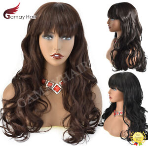 Women Synthetic Machine Made Glueless Wigs With Bangs Black Brown Long Wavy Hair
