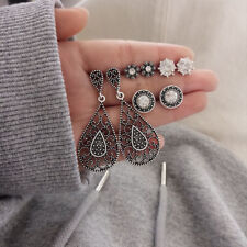 Women's 4Pairs/Set Antique Water-drop Shaped Crystal Stud Earrings Gifts Jewelry
