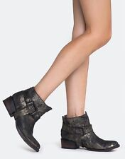 FREEBIRD BY STEVEN METALLIC BLACK PHLOW LOW HARNESS BOOTIE BOOTS WESTERN 7 NEW