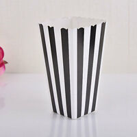 12pcs Popcorn Striped Paper Boxes Container Box Favour Bags Movie Birthday Party