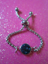 Bolo Ring Stainless Steel Blue Druzy Adjustable Chain Bolo Ring