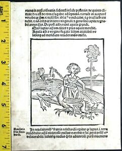 Rare illustrated leaf ,2 deco,symbolic Woodcuts,Revelationes,Basel,Furter,1500