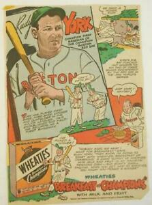 1950's Rudy York Spark Up Wheaties Breakfast of Champions Comic Ad