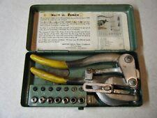 Vintage WHITNEY JENSEN Punch No. 5 Jr Sheet Metal Tool w/ 7 Dies & Case