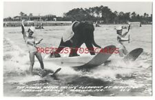 WATERSKIING ELEPHANT RPPC - Sunshine Springs SARASOTA FL ca1940 Unusual. Rare.