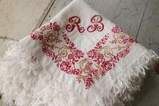 Set of 11 Antique Silk Damask Tea Towels or Napkins RB Monogram