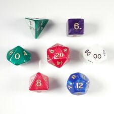 Pearl Poly 7 Dice RPG Set Mixed Random Pathfinder 5e Dungeons Dragons D&D DND HD