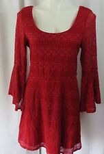 Love Reigns Womens sz XL Dress A-Line Red Lace Lined Bell Sleeves Back Zipper