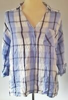 Alexander Jordan Women's Top Shirt Blue White Size L Linen Mix Check Casual VGC
