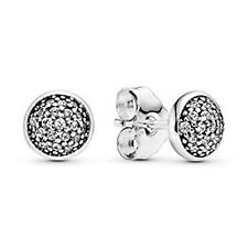 Pave Stud Earrings 925 Solid Sterling Silver Round Sparkling Balls Circle Studs