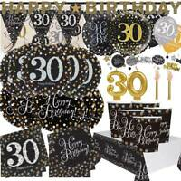 AGE 30 - Happy 30th Birthday BLACK & GOLD SPARKLES Party Range Banners Balloons