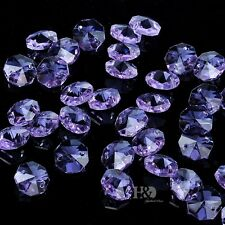 50pcs Lavender Crystal Faceted Octagon Glass Beads Chandelier Decor Parts 14mm