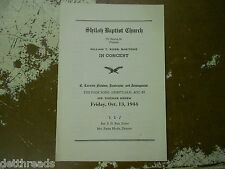 VINTAGE PROGRAM - 1944 - William T Ross - Shiloh Baptist Church - Folk Spiritual