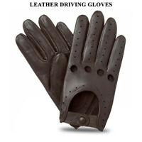MENS CLASSIC DRIVING GLOVES SOFT GENUINE REAL LAMBSKIN LEATHER DARK BROWN VINTAG