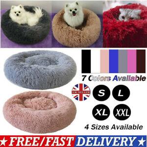 Pet Cat Dog Bed Large Dog Round Calming Nest Warm Soft Plush Sleeping Bag Fluffy