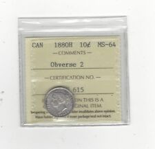 **1880H Obv#2**, ICCS Graded Canadian, Silver 10 Cent, **MS-64**