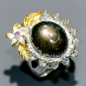 Vintage SET Black Star Sapphire Ring Silver 925 Sterling  Size 8.75 /R173941