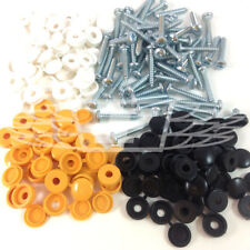 64 Piece Number Plate Car Fixing Fitting Kit Screws & Caps Yellow Black White