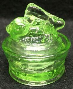 Green Vaseline uranium glass bunny rabbit on nest basket Easter eggs salt cellar