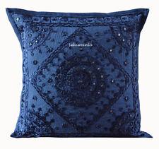 Indian Handmade 16X16 mirror Cotton Hippie Bohemian Sofa Cushion Cover Homedecor