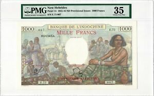 New Hebrides 1000 Francs 1941-45 ND Provisional Issues P-15. PMG Ch. VF 35. Rare