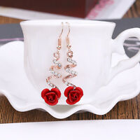 New Fashion Crystal Red Rose Flower Dangle Drop Earrings Jewelry Gift