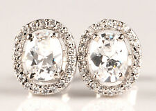 925 Sterling Silver With 4.15 Carat Oval Shape D-Color Solitaire Women's Studs