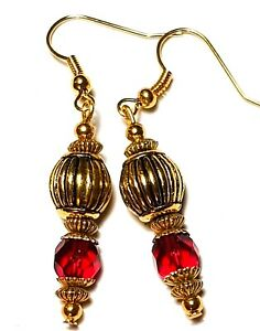 Short Gold Red Earrings Drop Dangle Crystal Glass Beads Pierced Hooks Gypsy Chic