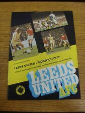 05/11/1977 Leeds United v NORWICH CITY (Jeton retiré, plié). personnes souhaitant assister progs (AK