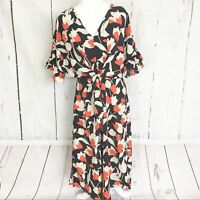Who What Wear Black and Orange Floral Midi Dress. Size S.
